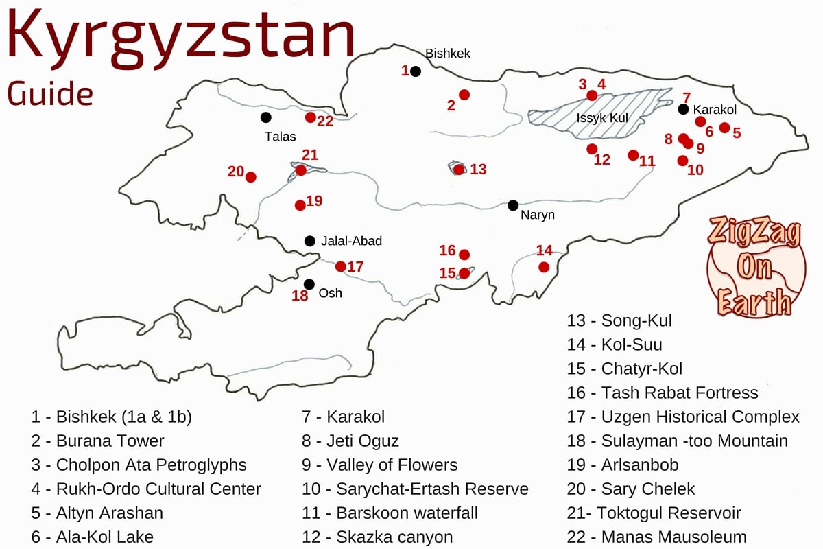 Travel Guide - Map tourism Kyrgyzstan places to see