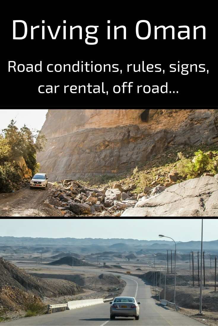 Driving in Oman - car rental signs traffic off road