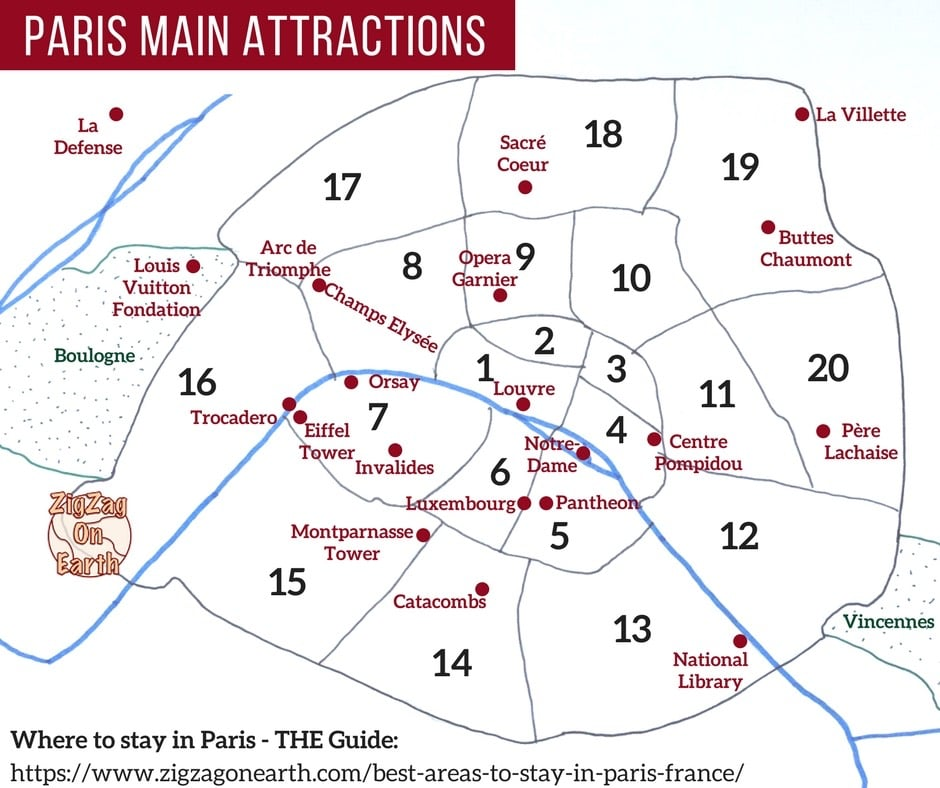 France Paris Attractions Map Paris Neighborhoods things to do