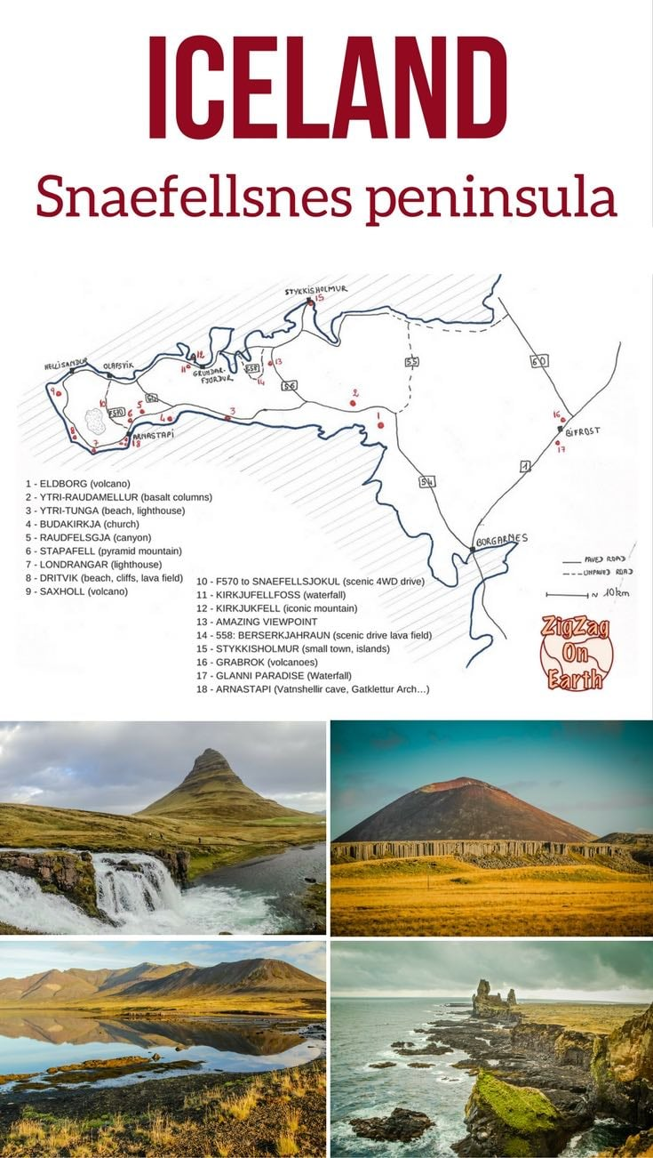 Pin Map Snaefellsnes peninsula Iceland Travel Guide