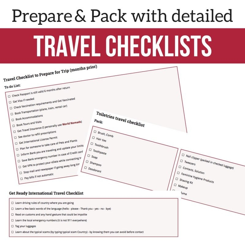 travel packing lists - essential travel items 2