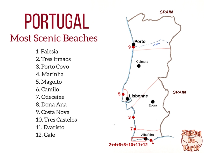 Best beaches in portugal Map coastline