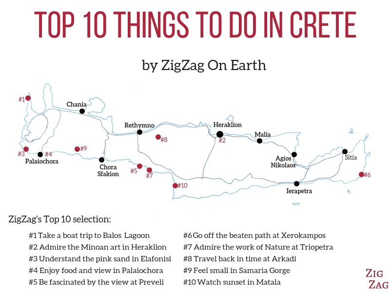 Top things to do in Crete Map