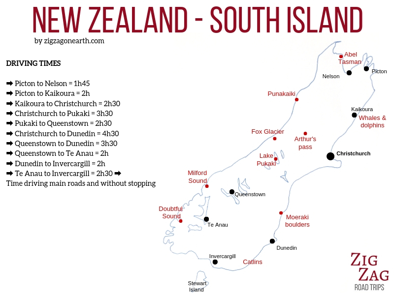 South island New Zealand road trip map