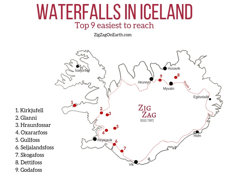 waterfalls in iceland map