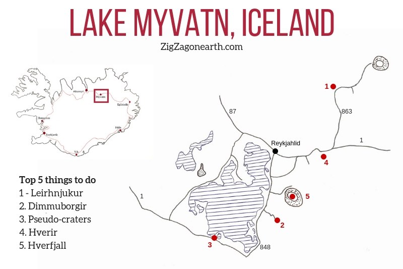 Things to do Lake Myvatn Map Iceland