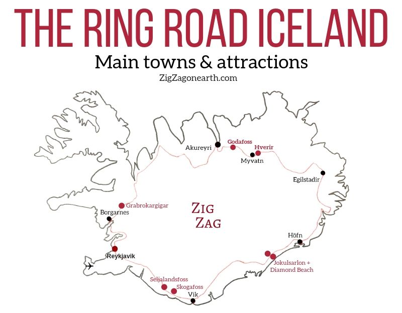 the Ring road Iceland Map Attractions towns