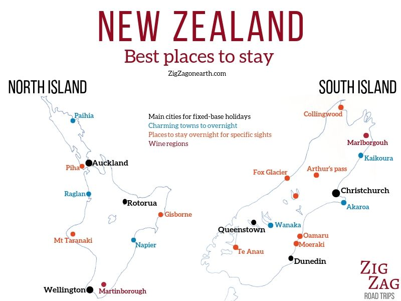 Best place to stay in New Zealand destinations map