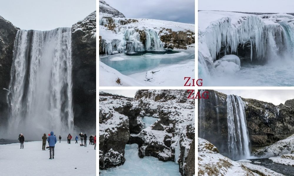 Iceland waterfalls winter