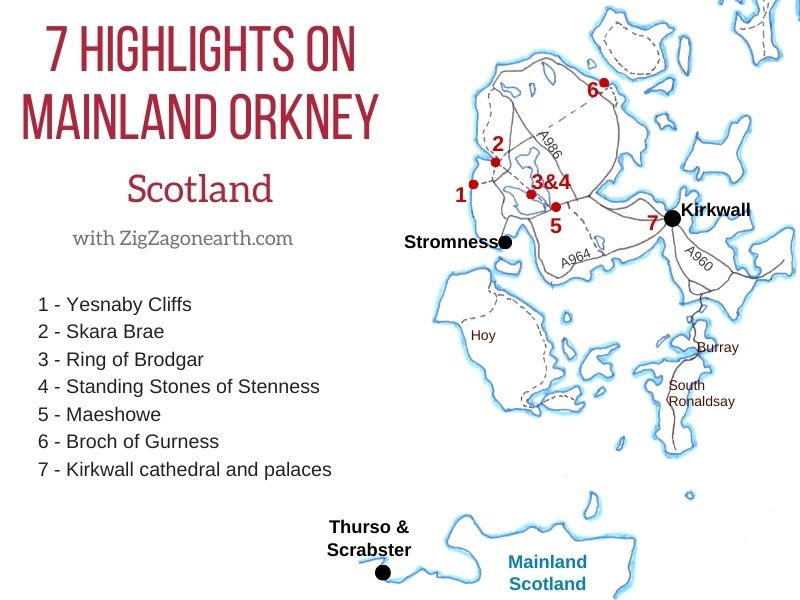 Best Things to do in Orkney Map points of interest