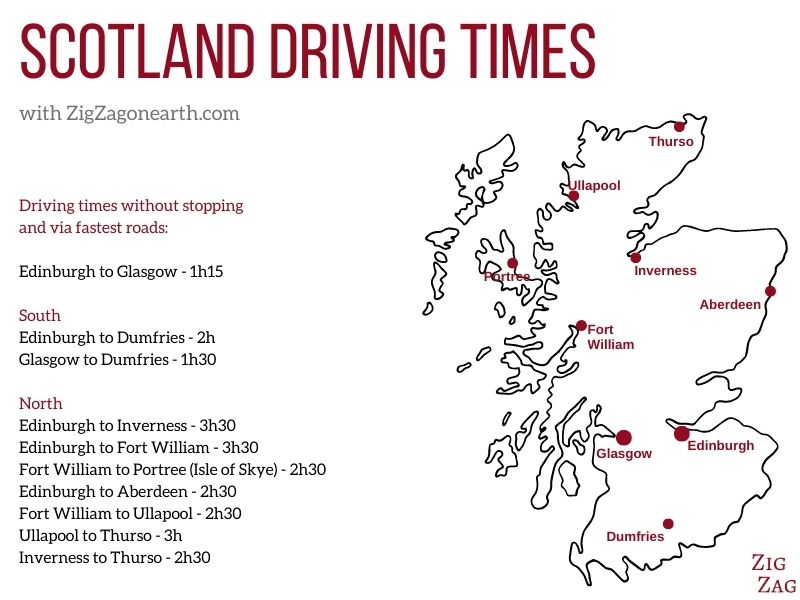 Map Towns Scotland Driving Times
