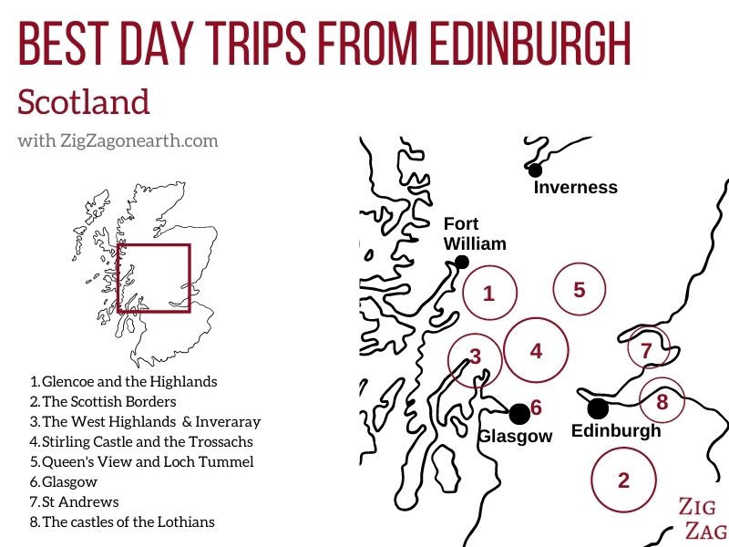 Map best day trips from Edinburgh road trips group tours